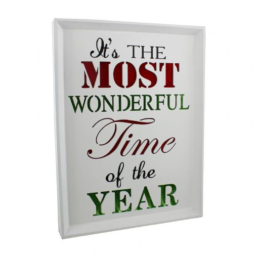 Christmas Light Up Wall Plaque Decoration 'Its The Most Wonderful Time Of The Year'